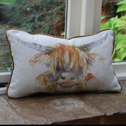 Voyage Maison Highland Cow Linen Cushion Pillows