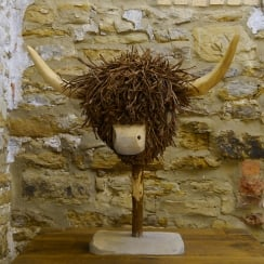 Highland Cow Wooden Sculpture