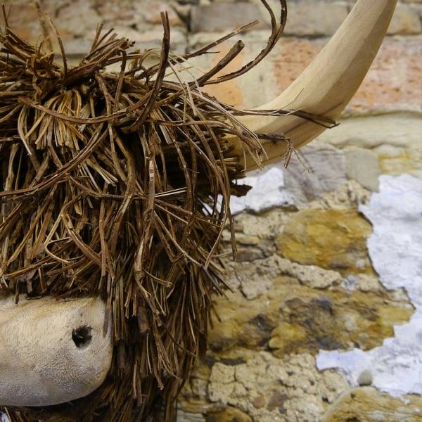 Voyage Maison Highland Cow Wood Wall Sculpture Curiosity