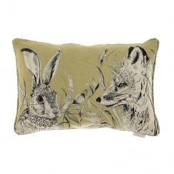 Hunt Mustard Linen Print Cushion