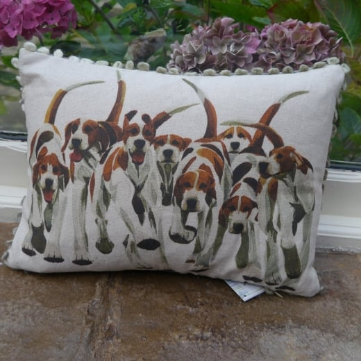 Voyage Maison Mini Collection Mini Foxhounds Linen Print Cushion