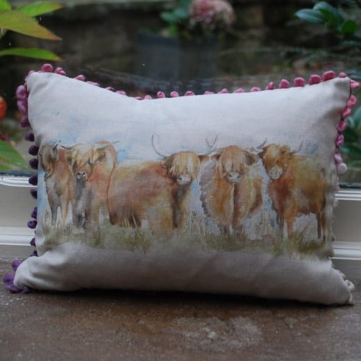 Voyage Maison Mini Collection Mini Highland Cattle Linen Print Cushion