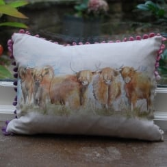 Mini Highland Cattle Linen Print Cushion