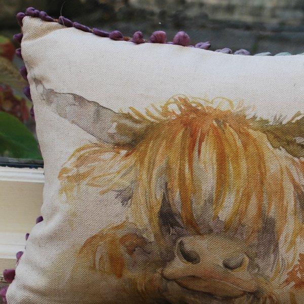 Highland Cow Voyage Maison Cushion Mini Arthouse