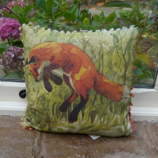 Voyage Maison Mini Collection Mini Jumping Fox Linen Print Cushion