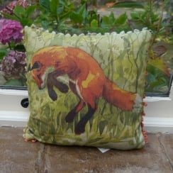 Mini Jumping Fox Linen Print Cushion
