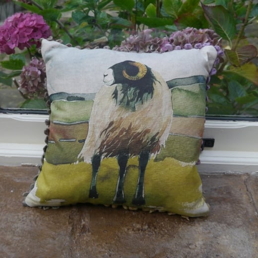 Voyage Maison Mini Collection Mini Moorland Ram Linen Print Cushion