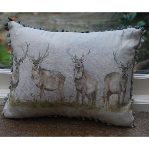 Mini Moorland Stag Linen Print Cushion