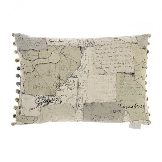 Voyage maison odyssey map linen print cushion curiosity for Au maison cushions uk
