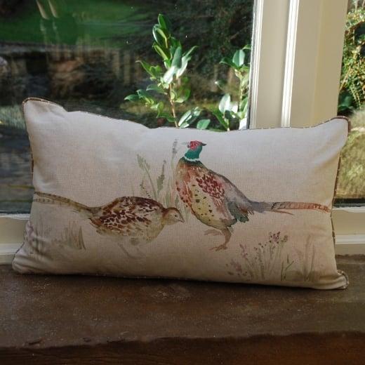 Buy pheasant couple linen print cushion voyage maison for Au maison cushions uk