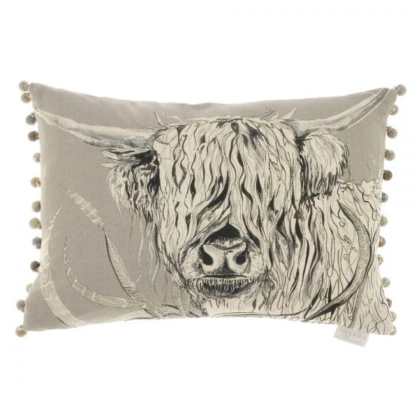 Voyage Maison Rudy Silver Highland Cow Cushion Curiosity