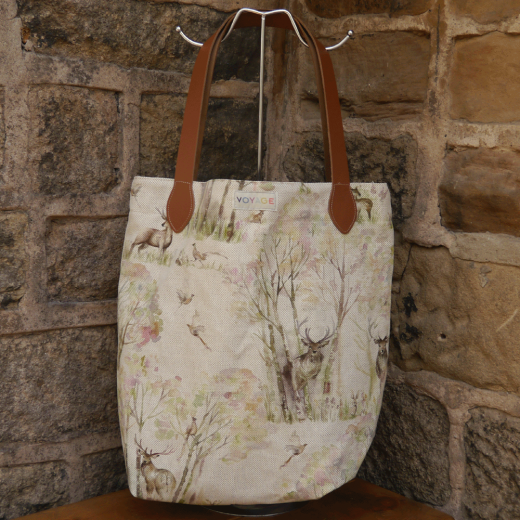 Voyage Maison Sherwood Linen and Leather Shopper Bag